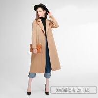 双面羊绒大衣女中长款2018新款高端韩版赫本风毛呢外套女秋冬反季