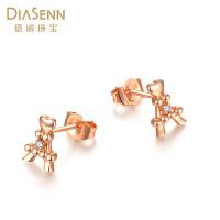 DIASENN/德诚珠宝正品铁塔耳钉18K黄金钻石耳饰时尚百变滴搭女士礼物饰品