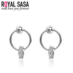 皇家莎莎圆圈耳钉女小耳圈925银日韩国版气质耳坠简约圆形耳环