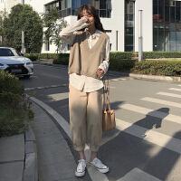 洋气时尚套装女春装2019新款韩版针织马甲背心衬衫裤子网红两件套