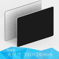 防水树脂面金属鼠标垫铝合金游戏苹果笔记本硬质办公桌垫聚合物树脂磨砂质感顺滑体验 Black 大尺寸