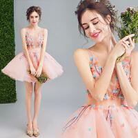 淡雅粉色仙透花朵伴娘小礼服新娘短款婚纱敬酒服 粉红色 XX