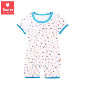 【1件3折价:20.7】纤丝鸟(TINSINO)婴儿爬服夏季宝宝短袖哈衣连体衣