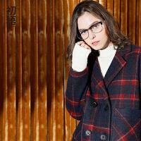 初语秋季新款格子条纹大衣 学院OVERSIZE英伦风中长款毛呢外套女