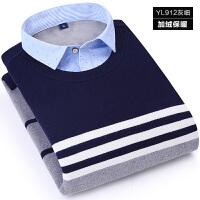 冬季男士加绒加厚保暖衬衫假两件套头韩版寸衫长袖衬衣针织衫毛衣 Y912灰细 X