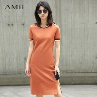 【AMII 超级品牌日】Amii[极简主义]2017夏条纹拼接百搭显瘦运动休闲连衣裙 11762204