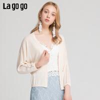 【5折价149】Lagogo/拉谷谷2019夏季新款时尚肩部镂空针织衫开衫女IAMM734F52