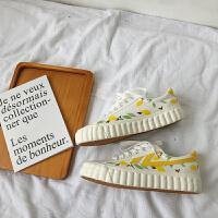 柠檬帆布鞋女学生韩版2019春款板鞋潮基础小白鞋夏季百搭鞋 柠檬