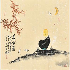 中国国际书画协会会员天语67 X 67CM人物画gr01383
