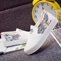 帆布鞋女春季新款小白鞋女松糕鞋厚底透气一脚蹬韩版学生鞋懒人布鞋