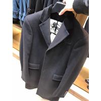 burberry男士羊绒羊毛大衣 黑色