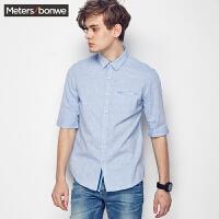 【618返场购,每满200减100】美特斯邦威棉麻衬衣男装短袖夏季新款修身时尚白色衬衫225128