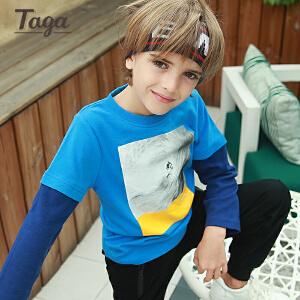 TAGA童装男童长袖T恤  春秋款儿童纯棉打底衫中大童上衣7-8岁【清仓款】