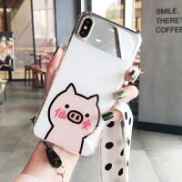 仙女小猪苹果X手机壳xs max可爱卡通苹果7plus补妆镜子iphone 6s 7 8plus挂绳 i6/6s 4.