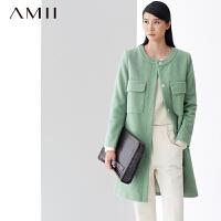 【618大促-每满100减50】AMII[极简主义]冬新品可拆卸小披肩长款纯色羊毛呢大衣女11480402