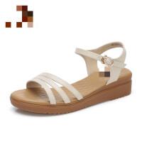 夏季中跟凉鞋妈妈女夏平底舒适坡跟女鞋孕妇简约 A825046146 米色