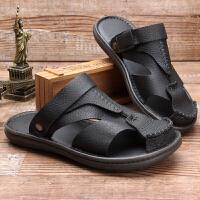凉鞋男夏季沙滩鞋男士凉拖鞋真皮2019新款休闲鞋防滑皮凉鞋男