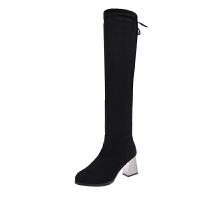 显瘦过膝长靴鞋子女2019新款长筒靴女高跟鞋粗跟高筒靴弹力靴秋冬 黑色