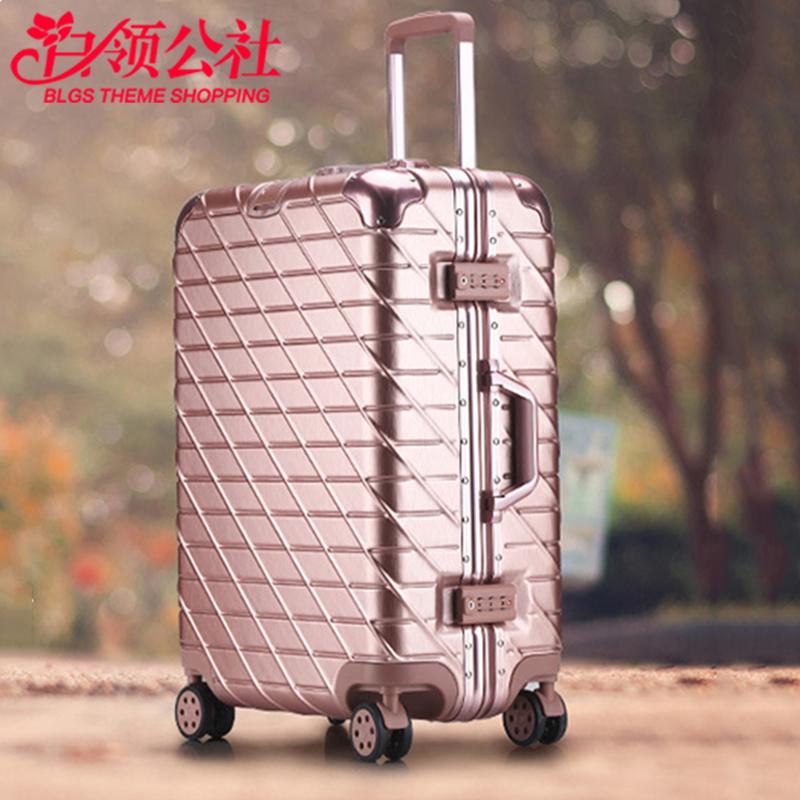 拉杆箱 男女士新款拉丝玫瑰金学生密码行李箱男女式铝框旅行登机箱时尚箱包. 单品包邮,防刮拉丝时尚旅行箱