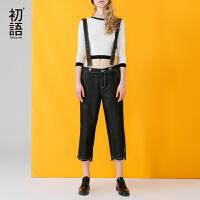 初语背带裤女2017秋装新款 趣味几何黑色纯棉刺绣开叉中腰牛仔裤