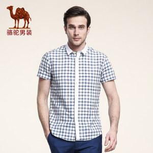 骆驼男装 夏季短袖衬衫男士格子尖领薄衬衣 时尚休闲短袖寸衫男