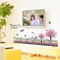 樱花栅栏可移除装饰墙贴纸客厅电视沙发背景墙壁贴画卧室温馨壁纸