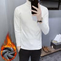 男士修身韩版高领毛衣两翻领纯色打底衫紧身针织线衫加绒加厚男装