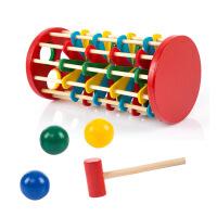 儿童木制彩色敲球落梯敲球玩具 宝宝颜色认知落球游戏2-3-5岁