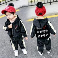 男童金丝绒套装宝宝冬装小童洋气儿童运动潮