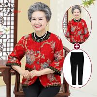 中老年人春秋装女60-70-80岁妈妈装唐装外套奶奶装生日民族风上衣
