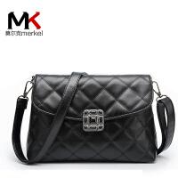 莫尔克(MERKEL)2017新款韩版百搭菱格女士小包包简约单肩时尚斜挎包链条女包