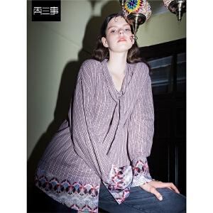 两三事靡靡边界2018冬装新款复古印花拼接格子纯棉衬衫女长袖上衣