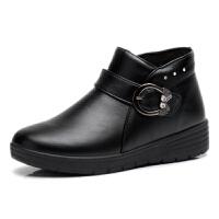 冬季新品妈妈棉鞋女士中老年人加绒保暖女靴平底防滑短靴皮棉靴子