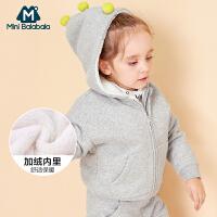 【1件5折】迷你巴拉巴拉女童外套连帽儿童纯色蝙蝠袖冬新款宝宝加绒潮韩版