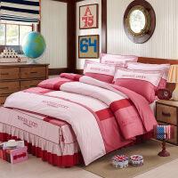 家纺床上用品活性高密纯棉刺绣床裙四件套欧式4件套