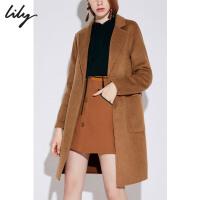 【超品日2折价379.8元】Lily春秋新款羊毛双面呢大衣宽松毛呢外套1987