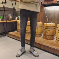 牛仔裤男士韩版潮流2018春季新款修身小脚休闲裤黑色九分直筒裤子 黑色