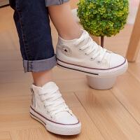 男童板鞋单鞋春款女童鞋高帮中大童儿童小白鞋