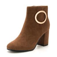 星期六金属扣饰短靴女冬季短靴粗跟裸靴子SS74116519