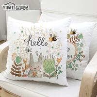 宜美贴 秋冬亚麻毛绒沙发抱枕靠垫 韩版简约现代风格