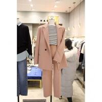 西装套装女2018春秋季新款韩版女装小香风九分裤粉色小西装外套潮 藕粉色