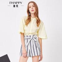 海贝夏季新款女装上衣 通勤时尚简约纯棉翻领波点短袖衬衫