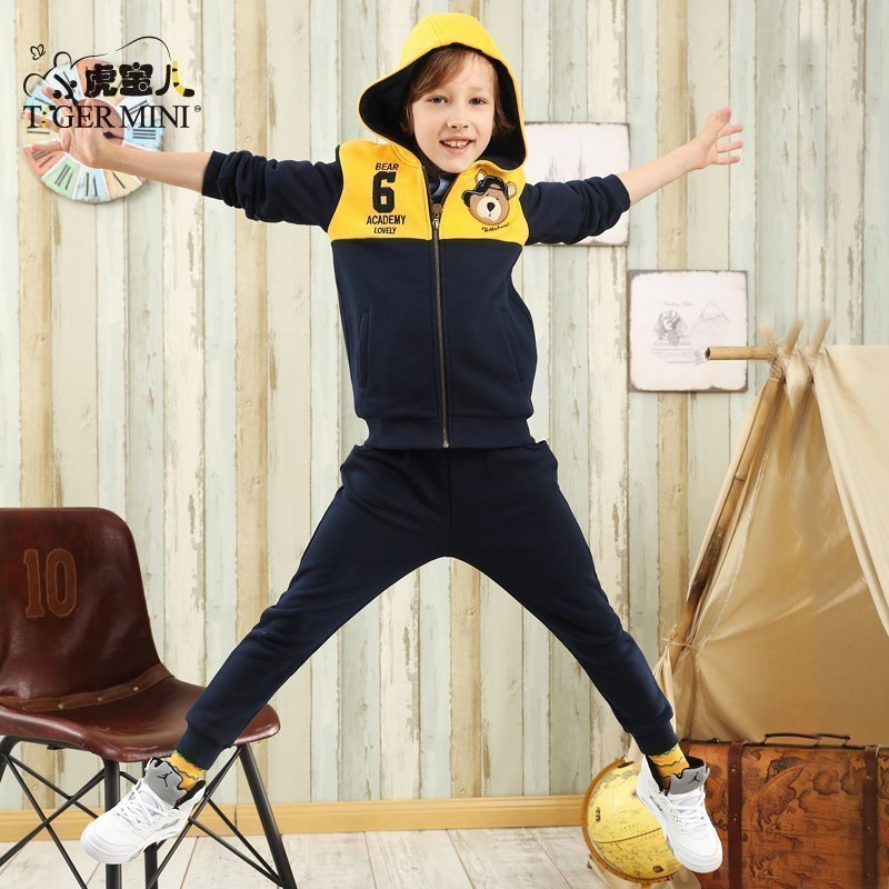 男童保暖加绒小熊套装 儿童8韩版两件套童装 小虎宝儿2017秋装9岁春节将至,本店与2月11日至2月20日只接单不发货,2月21日正常发货!