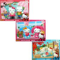 HelloKitty凯蒂猫 拼图玩具 凯啼猫盒装儿童拼图三合一(100片我爱温泉+200片温馨的家+300片樱花公园)