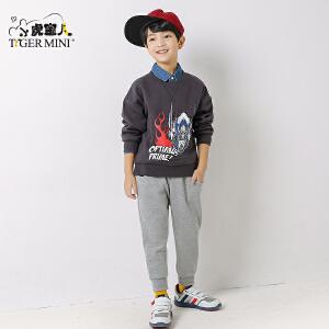 小虎宝儿童装男童秋季套装潮衣儿童两件套2017新款 韩版变形金刚