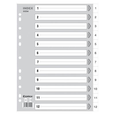 齐心IX894 分类纸 隔页纸 塑料年度索引纸A4数字1-12页11孔分页纸