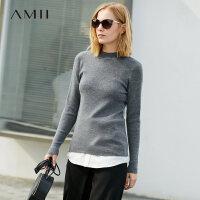 【到手价:325元】Amii极简小清新时尚羊毛针织衫毛衣女2019秋冬纯色半高领外穿上衣