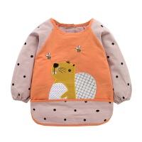 秋冬宝宝罩衣纯棉防水婴儿反穿衣倒褂儿童吃饭围裙吃饭衣护衣围兜 深蓝色 桔色松鼠