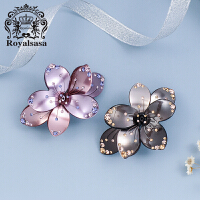 皇家莎莎RoyalSaSa花朵发饰 顶夹盘发头花发夹 韩版水钻发卡头饰品马尾夹弹簧夹