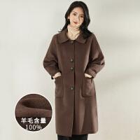 【100%羊毛】大衣女秋冬新款赫本�L直筒修身中�L款毛呢外套